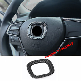 wheel trimmer UK - Carbon Fiber Interior Steering Wheel Logo Circle Trim Fit For Honda Accord 2018