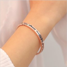 silver bangles words wholesales Australia - C Shape Bangle with word You are Braver Than You Believe Stronger Than You Seem rose gold and silver plated