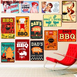 Best Home Kitchens Australia - DAD'S BBQ Best Meat Retro Plaque Wall Decor for Bar Pub Kitchen Home Vintage Metal Poster Plate Metal Signs Painting Plaque N075