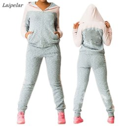 Pink Clothing Women NZ - Hot Sale Sportsuit women Fashion casual fleece Hooded jacket tracksuit Patchwork sweat Pant Suit two piece clothing set Pink 4XL