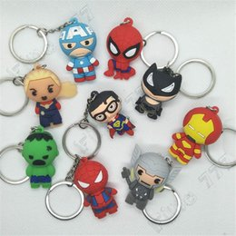 marvel key rings NZ - 3D Cartoon Figure PVC Marvel Avengers Keychain Cute Superhero Batman Spider Man Key Chain Key Ring Kids Key Holder Trinket Gift