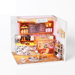 silicone toys Australia - Miniature DIY Doll House Wooden Miniatura Doll Houses Furniture Assemble Kit Handmade Model Dollhouse Toy For Children Gift