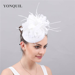 $enCountryForm.capitalKeyWord NZ - Women Fancy white Feather Fascinator Hat imitation sinamay chapeau caps Hair Clip elegant ladies female race Cocktail Tea Party free ship