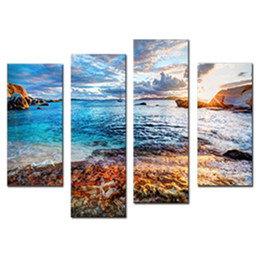 $enCountryForm.capitalKeyWord Australia - 4 Pieces Painting Waves Seaside Scenery Picture Print on Canvas Wall Art for Modern Home Living Room Decor Stretched Framed