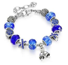 Glasses Trade Australia - Blue Noctilucent Fluorescent Bracelet Crystal Glass Alloy Macroporous Bead Bracelet DIY Foreign Trade Bracelet W704