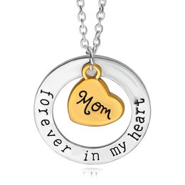Cute Chain letters online shopping - Fashion Mother s Day Pendant Choker Cute Heart Shape Necklace letter Forever in Heart Mom Clavicle Chain Jewelry Pendants TTA492
