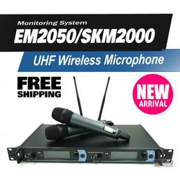 $enCountryForm.capitalKeyWord NZ - Free Shipping EM2050 Professional UHF Wireless Microphone System with Dual SKM2000 Handheld Transmitter Karaoke Microfone Mic