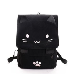 Cute Teenage Girl Backpacks NZ - 2019 Cute Cat Canvas Backpack Cartoon Embroidery Backpacks For Teenage Girls School Bag Casual Black Printing Rucksack Mochilas