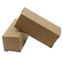 Chinese  50Pcs Brown Kraft Paper Packaging Box Carton Essential Oil Bottle Packing Box Lipstick Party Gifts Crafts Foldable Paperboard Package Box manufacturers