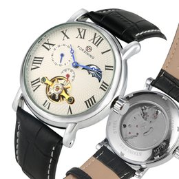 Classic Leather Watches For Men Australia - Automatic Mechanical Watches for Male Classic Roman Numerals Dial Wristwatch Tourbillon Skeleton Black Leather Strap Watch for Men