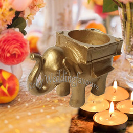 $enCountryForm.capitalKeyWord Australia - 20PCS Lucky Golden Elephant TeaLight Holde Wedding Favors Party Event Gifts Bridal Shower Anniversary Giveaways Table Candle Holder Decors