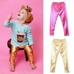 $enCountryForm.capitalKeyWord Australia - Chic Shinning Girl Leggings Elastic Skinny Pants Gold Silver Kids Metal Colors Sequined Fuax Leather Leggings Bottoms