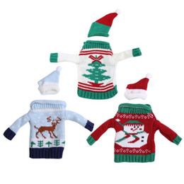 Knitted ornaments online shopping - Christmas Knitting Sweater Wine Bottle Cover Set Bottle Sweater With Hat Xmas Tree Pendant Ornament Cute Gift for Kids