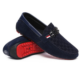Loafer Moccasin Flat Shoes UK - Red Bottoms Loafers Black Men Shoes Slip On Men's Leisure Flat Shoes Fashion Male Breathable Moccasin Loafers Driving Shoes