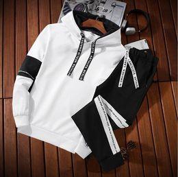 White Velour Suit Australia - Men Sportswear Hoodie And Sweatshirts Black White Autumn Winter Jogger Sporting Suit Mens Sweat Suits Tracksuits Set Plus Size M-4XL 418-11