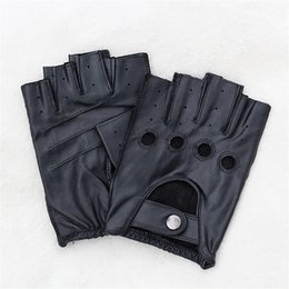 men leather half gloves Australia - Fashion- Genuine Leather Half-Finger Gloves Driving Male Spring And Autumn Sheepskin Gloves Tactical Non-Slip F124