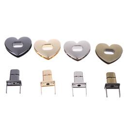 Heart Shaped Handbags Wholesale Australia - 1Set Turn Lock Twist Lock Bag Accessories Heart Shape Clasp Metal Hardware For DIY Handbag Bag
