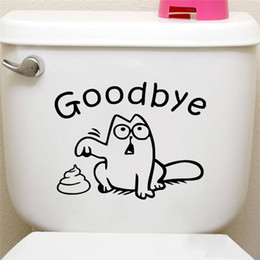 cat decals for car windows UK - Cute Black Cat Say Goodbye Toilet Wall Decals Bathroom Shop Window Car Tank Home Decor Cartoon Animal Stickers Vinyl Mural Art