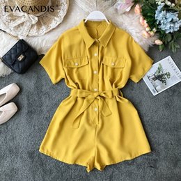 elegant plus size rompers Canada - Short Women Jumpsuits Korean Turndown Collar Office Yellow Black Pink Elegant Summer Overalls Plus Size Rompers Womens Jumpsuit Y19072001