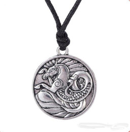 nautical chains UK - Z10 Seahorse Totem Pendant Necklace Antique Silver Pendant Nautical Jewelry Male Irish Amulet Symbols Necklace