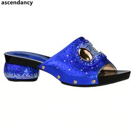 $enCountryForm.capitalKeyWord Australia - Designer New Arrival Blue Color Italian Design Women Shoe High Quality Slip On Summer Slipper Shoes Sexy Lady Low Heels Shoes For Party