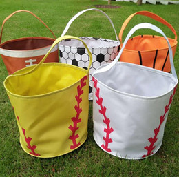 $enCountryForm.capitalKeyWord Australia - Baseball bucket bag softball bucket bag Baseball Softball Easter Buckets Bucket Wholesale Blanks Candy Tote Gift Collection Bag