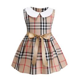 Toddler girls plaid dress online shopping - retail girls clothes cotton soft summer sleeveless toddler dress plaid collar pattern kids dress with bow