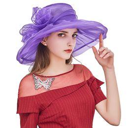 $enCountryForm.capitalKeyWord Australia - Women Vintage Organza Sun Hat Floral Ruffles Summer Beach Hat Wide Large Brim Tea Party Wedding Sun Hat Cap Sunbonnet M16