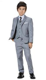 $enCountryForm.capitalKeyWord Australia - Custome Made Kids Suits Boys Grey Flower Boy Blazers Children Prince Wedding Dress Uniform Clothes Formal Party Clothes