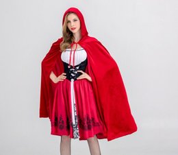 little red riding hood costume NZ - New Arrival Womens Halloween Suit Designer Womens Suits Luxury Little Red Riding Hood Costume for Women Cloaks + Dresses Size S-XL Cosplay