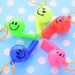 football cheerleading NZ - 1600pcs lot Soccer football or smiling face whistle cheerleading toys for kids children plastic whistles toys with ropes