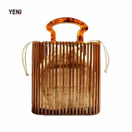 brown leopard print Australia - Summer Leopard Prints Acrylic Bag Bamboo Bag Basket Wood Bags Holiday Vintage Handbag Designer Wooden Beach Bags Fashion Women Rattan Bags