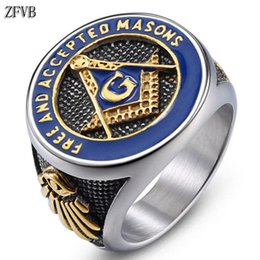 women masonic ring 2019 - ZFVB NEW Masonic Signet Rings Male Women Gold color Freemason Ring Stainless Steel Hiphop Fashion Party Charm Men Jewelr