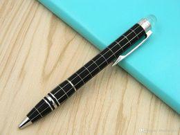 HigH end art online shopping - carbon fiber luxurious High end Serial Number lattice black Silver Trim Metal Ballpoint Pen