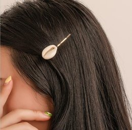 $enCountryForm.capitalKeyWord NZ - Hot Geometric Shell Hair Clips Matted Silver Gold Plated Charms Hair Barrettes Fashionable Jewelry For Women