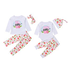 Wholesale Family Sis Set Newborn Kid Baby Girls Little Big Sister Flower Romper T shirt Pants Outfits