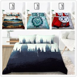 $enCountryForm.capitalKeyWord Australia - Beautiful scenery Bedding Set Twin Full Queen Size Quilt Cover Set with Animals Paintings with Pillowcase of Comforter Cover Set