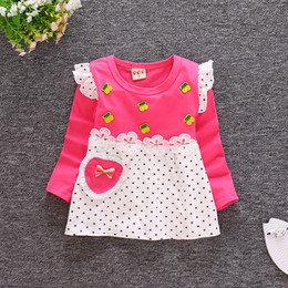 infant knee sleeve NZ - New Autumn Baby Girl Dress Cotton Infant Cherry European Style Sweet Heart Long Sleeve Toddler Birthday Baby Clothes