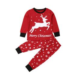 e050188eea9d8 2018 Multitrust 2Pcs Kids Boy Girl Christmas Pajamas Red Deer Tops+Pant  Sleepwear Homewear Xmas Autumn Winter Outfits 1-7Y