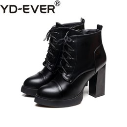 Lace yds online shopping - YD EVER Autumn Winter Lace up Women Short Boots Leather Square High Heel Round Toe Platform Ankle Boots Shoes Female