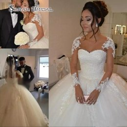 Long maternity baLL gowns online shopping - Ball Gown Wedding Dresses With Sheer Long Sleeves African Lace Bridal Dress Beaded Pearls A Line Wedding Gowns Vestido De Noiva