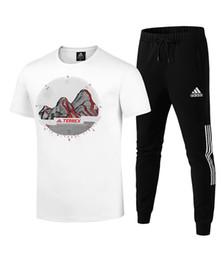 Ingrosso Tute da uomo 2019 Brand Fashion Breatnable Soft Geometric Print T-shirt girocollo casual Pantaloni lunghi in misto cotone taglia L-5XL