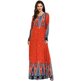Dubai Clothing For Women UK - print muslim dresses and abaya for women Dubai Embroidered Maxi Dress Islam Women Kaftan Abaya Loose Clothing#G9+1