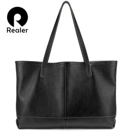 minimalist handbags 2019 - REALER women bag genuine leather handbag female large tote bag black handbag ladies big shoulder Minimalist Simple compo
