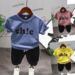 Baby Boy T Shirt Designs Australia - 2019 Little Boy Kid Summer T-shirt Pants Outfits Fashion Design Letter Casual Clothes Baby Boys T-shirt Set Kids Costume 2-7T