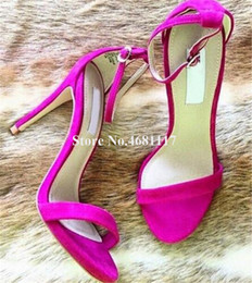 $enCountryForm.capitalKeyWord Australia - Women Simple Style Open Toe Stiletto Heel Sandals Ankle Strap Buckle Rose Red Blue High Heel Sandals Dress Heels Shoes