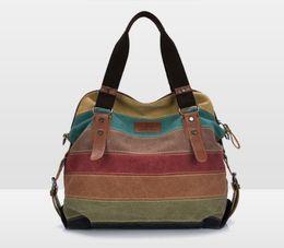 Multi Color Hand Bag Australia - 2019 New Design Fashion hand bag leisure single shoulder large capacity female bag multi-color strip stitching women hand bag