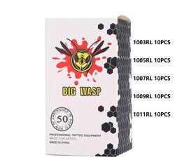 Venta al por mayor de BIGWASP 50 unids / caja surtido de cartuchos de aguja de tatuaje Liner redondo 1003RL 1005RL 1007RL 1009RL 1011RL Suministros de tatuaje