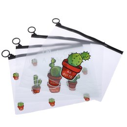 office filing supplies Australia - Cactus PVC Waterproof Pencil Cases Transparent Stationery File Folder Storage Office School Supplies Pencil Bags for Girls