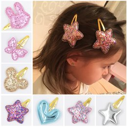 bb cute NZ - Baby Tie Bow Love Heart BB Hairpins Children Accessories Girls Mickey butterfly Princess Star Cute Barrette Hair Clip